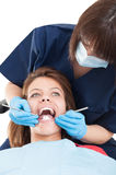 Front view of female patient in dentist office Royalty Free Stock Photos