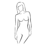 Front view female stylized body contour Stock Photo