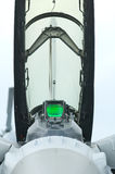 Front view of fighter jet cockpit. Front view of the open cockpit of a fighter jet with green head-up display Royalty Free Stock Photography