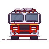 Front view of fire engine. Car with lights. Line style vector illustration. Vehicle and transport banner. Modern firefighter american car. 911 truck with royalty free illustration