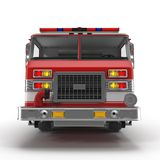 Front view Fire Rescue Truck isolated on white. 3D illustration. Front view Fire Rescue Truck isolated on white background. 3D illustration Royalty Free Stock Photo