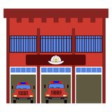 Front view of a fire station. Vector illustration Royalty Free Stock Photography