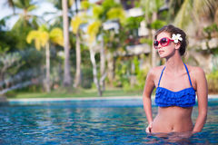 Front view of fit woman in luxury spa pool Royalty Free Stock Image