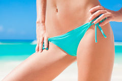 Front view of fit young woman in bikini. close up Royalty Free Stock Image