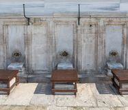 Front view of fountains for ritual ablution Royalty Free Stock Photo