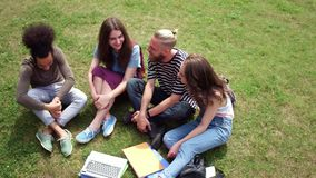 Front view of four college friends sitting on lawn talking. stock video