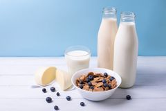 Front view of fresh dairy products and cereals with blueberries on a white wooden table and blue background. Shallow depth of fiel Stock Images