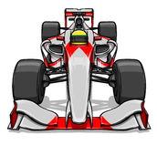 Front view funny fast cartoon formula race car illustration art Stock Images