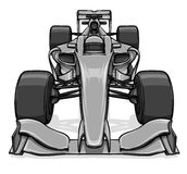 Front view funny fast cartoon formula race car illustration art Stock Photography