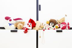Assortment of cute vintage children toys royalty free stock images