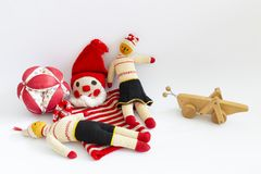 Assortment of cute vintage children toys royalty free stock photos