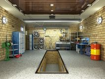 Front View of a Garage 3D Interior with Opened Roller Door 3D Re Stock Photos