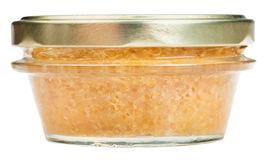 Front view of glass jar with caviar of pike fish Royalty Free Stock Photo