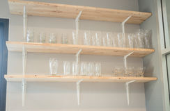 Front view of glass wooden shelf Stock Photo