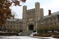 Princeton University. Front view of grand entrance to Princeton University in winter royalty free stock photography