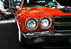 Front view of a great retro american muscle car Chevrolet Camaro SS. Car exterior details. Royalty Free Stock Photo