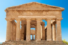 Front view of the greek temple of Concordia in the valley of the temples of Agrigento (Sicily) Royalty Free Stock Photo