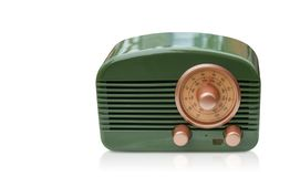 Front view green and brass radio on white background,copy space royalty free stock image