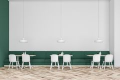 Green sofa cafe interior. Front view of a green and white wall cafe interior with green sofas and white chairs. Concept of business lunch. 3d rendering mock up Royalty Free Stock Photos