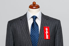 Front view Grey pinstripe suit Sale Royalty Free Stock Images