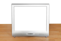 Front view of grey TV set display on table Royalty Free Stock Images