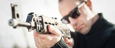Front view gun point riffle machine gun. Shooting and weapons royalty free stock image