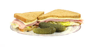 Front View Ham Cheese Sandwich Pickles Stock Photo