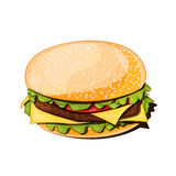 Front view of a hamburger vector illustration. On white background Royalty Free Stock Images