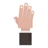 Front view hand with side fingers Royalty Free Stock Photo
