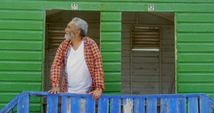 Front view of happy active senior African American man standing at beach hut on a sunny day 4k. Front view of happy active senior African American man standing stock footage
