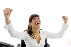 Front view of happy attorney with winning gesture Royalty Free Stock Photos