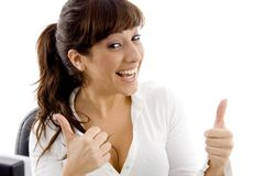 Front view of happy female attorney with thumbs up Royalty Free Stock Photography
