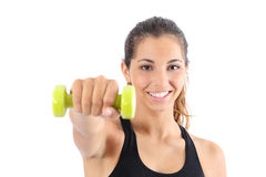 Front view of a happy fitness woman practicing aerobic isolated Royalty Free Stock Photo