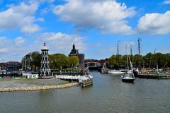 Front view of the harbor of Enkhuizen in Holland Stock Images