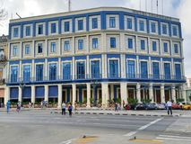 Telegraph Hotel at Havana Cuba. Front view of the Havana telegraph hotel located on the sidewalk of the Louvre, opposite the Central Park stock images