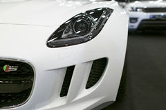 Front view of headlight Jaguar F-Type coupe S 2017. Car exterior details. Stock Photography