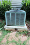 Front view of a heat pump showing unstable base propped up with blocks Royalty Free Stock Photo