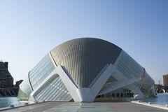 Front view of the Hemisferic in the City of Sciences of Valencia. royalty free stock photography