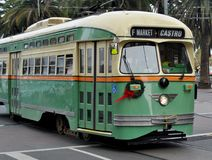 Historic Streetcar in San Francisco. Front view of an historic San Francisco street car, green and cream royalty free stock images