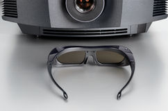 Front view of a home cinema projector with 3D-glasses Stock Image