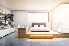 Front view of home office in bedroom, toned stock image