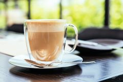 Front view of Hot Cappucino with blur green background. White froth on coffee and milk with copy space