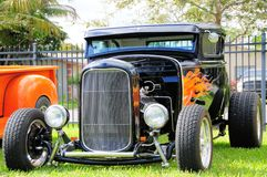 Front view of hot rod roadster car Stock Photo