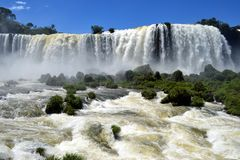 Front view of the Iguazu waterfalls, Brazil Royalty Free Stock Images