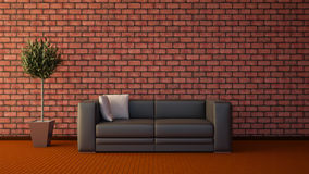 Front view of an interior rendering of a living room Royalty Free Stock Images