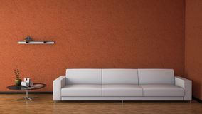 Front view of an interior rendering of a living room Royalty Free Stock Image