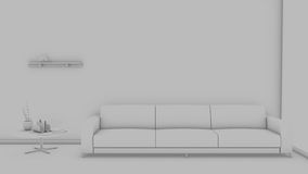 Front view of an interior rendering of a living room Stock Photography