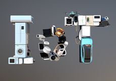 Front view of IoT text composed by smart appliances royalty free stock photography