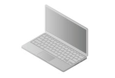 Front view isometric laptop isolated on white Stock Images