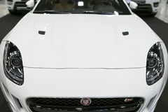 Front view of Jaguar F-Type coupe S . Car exterior details. Royalty Free Stock Photo
